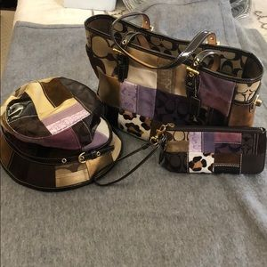 Coach patchwork purse/wristlet/ hat